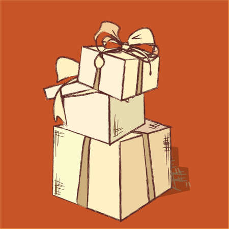 three wishes: A Pile  of Gift Boxes. Christmas or Birthday Present in Vintage Style Illustration