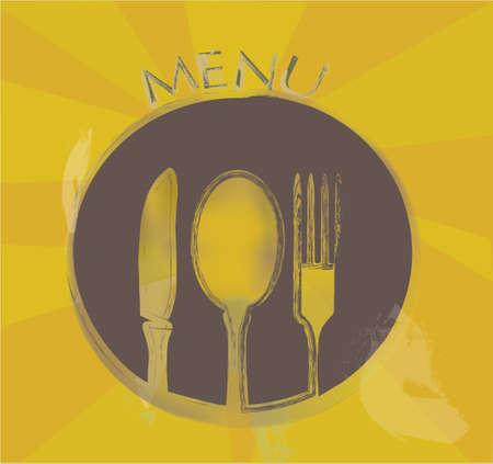 main dishes: Men� de restaurante dise�o con Tenedor Cuchara, Plato y un cuchillo en una placa