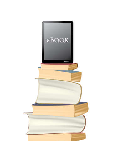 e reader: eBook. Electronic E -Reader on a pile of paper books Illustration