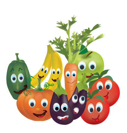 Illustration Collection of Animated Fruits and Vegetables Tomatoes, Peppers, Pumpkin, Eggplant,  Carrot, Banana and Apple Characters with Facial Expressions. 3D Set of Vector Vegetables and Fruits