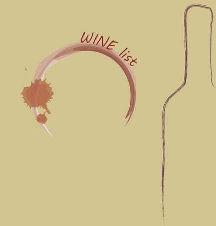 wine list: Wine List Menu. Bottle and wine print glass