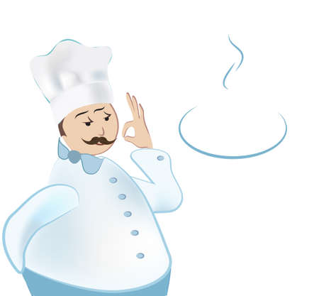 Chef. Cooker showing Ok sign with plate