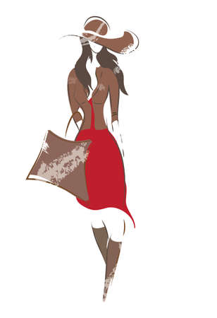 Fashion Woman Sketch. Girl with bag, hat, jacket and boots on shopping Vector