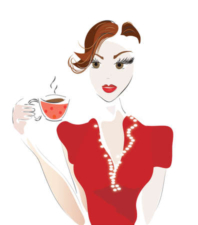 Girl with Coffee Cup or Tea. Vector