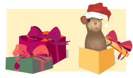 Christmas Card with cute mouse and gift boxes