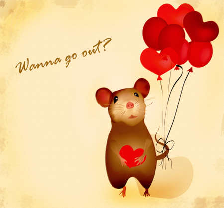 go out: Wanna go out? Love card with  mouse and heart-shaped  balloons Stock Photo