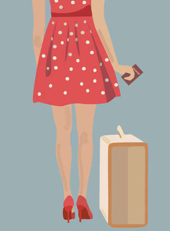 woman legs: Woman with a suitcase and a passport. Girl ready to travel Illustration