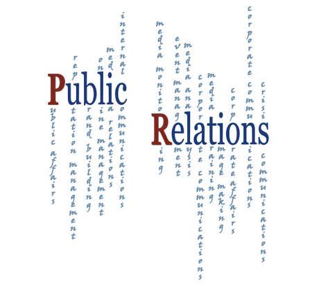 pr: Public Relations. PR Graphic Presentation Illustration