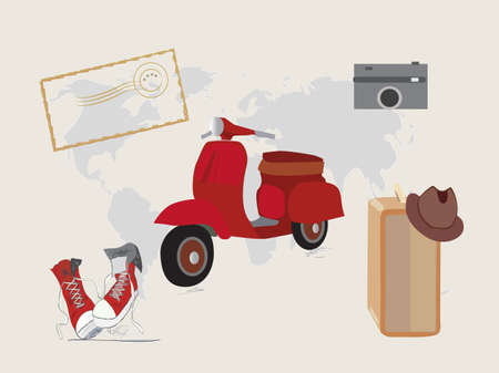post stamp: Oggetti di viaggio. Scooter scarpe valigia di tela e la macchina fotografica con la mappa e timbro postale