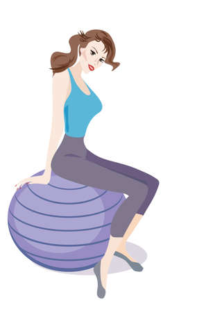 """exercise ball"": Woman with Exercise Ball in the Fitness Gym Illustration"