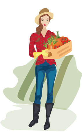 Farmer Woman with Cardboard Box with Vegetables in Her Garden  イラスト・ベクター素材