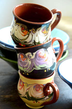 hand made: Traditional Pottery. Hand Made Cups and Bowls