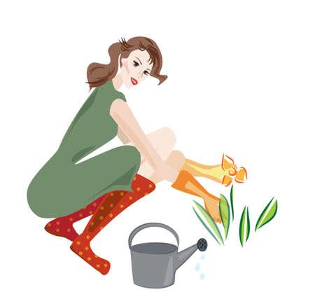 caucasian water drops: Illustration of a Beautiful Woman Working in Her Flower Garden