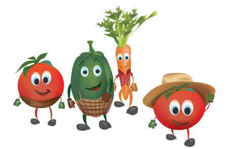 Cartoon Vegetables with Clothes. Illustration of Pepper Tomatoes and  Carrot Vector