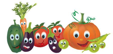 Las verduras de dibujos animados. Ilustración de la pimienta de calabaza Guisantes Tomates berenjena y zanahoria