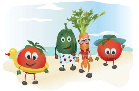 Set of  Cartoon Vegetables with Clothes at the Sea Vector