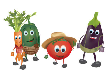 Set of  Cartoon Vegetables with Clothes. Illustration of Pepper Tomato Carrot and Aubergine Vector
