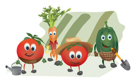 Set of  Cartoon Vegetables with Clothes in the Garden Vector