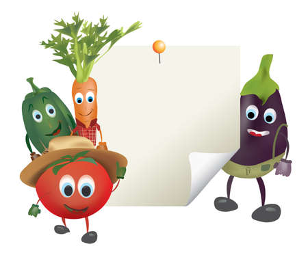 Illustration of Cartoon Vegetables with Sticky Blank Note Vector