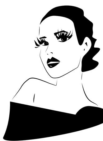 Beautiful Woman Face Illustration. Portrait in Black and White Vettoriali