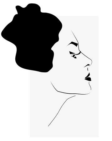black woman: Beautiful Woman Face Illustration. Portrait in Black and White Illustration