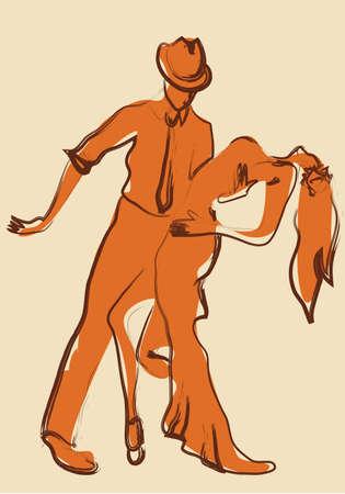bailarines de salsa: Bailarines de Salsa Latina. Ilustración de una pareja de baile