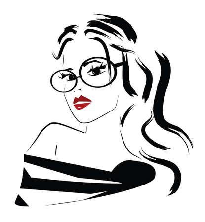 Beautiful Fashion Woman with Glasses