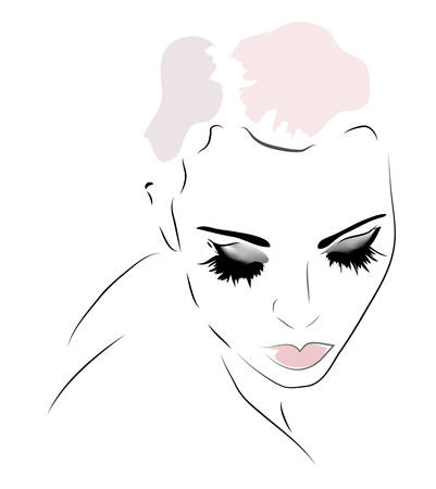 Woman Face. Illustration of a Girl Looking Down Illustration