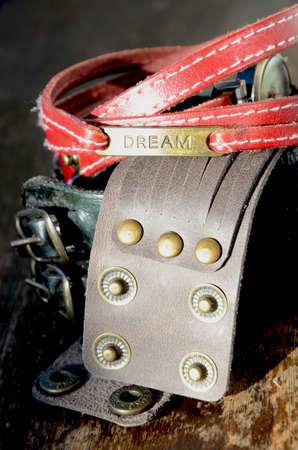 clasps: Leather Bracelets with metal Clasps Stock Photo