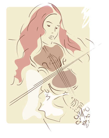 talented: Illustration of a Girl Playing a Violin