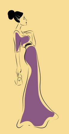 Fashion Woman Portrait. Vector of an Elegant Girl with Purple Dress