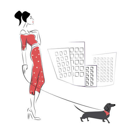 dog walking: Girl walking her dachshund dog pet Illustration