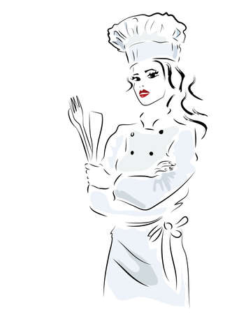 Chef. Woman in cooker uniform with fork and spoon Vectores