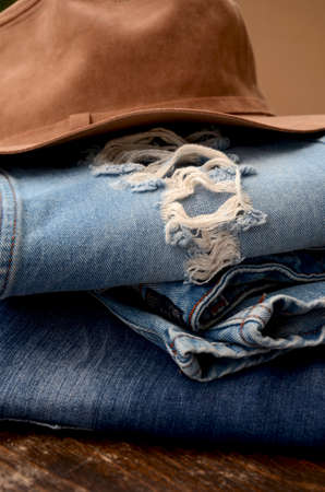 Fashion Torn Jeans and Leather Hat
