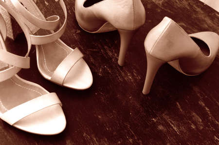 High-heeled woman shoes. Fashion design