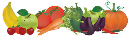Fruits and vegetables. Banana, apple, pepper, tomatoes, carrot, strawberry, aubergine and pumpkin