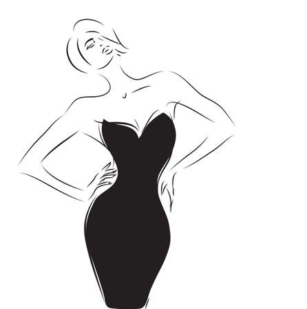 classic woman: Woman with an Elegant Little Black Dress Illustration