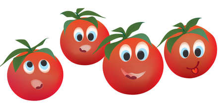 Tomato Face Expressions. Cartoon Vegetable Isolated on White Background