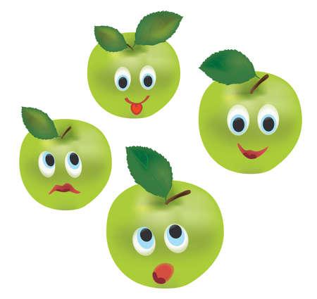 manzana caricatura: Manzana Expresiones Cara. Fruta de la historieta aislado en el fondo blanco Vectores