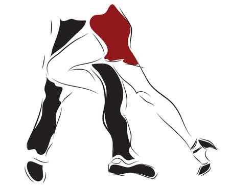 Couple Dancing Tango. Woman and Man Dancers