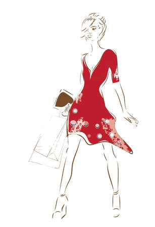 cosmetics bag: Woman on Shopping with Bags and Fashion Red Dress