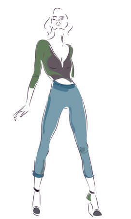 cardigan: Modern Woman with Jeans and Cardigan Illustration