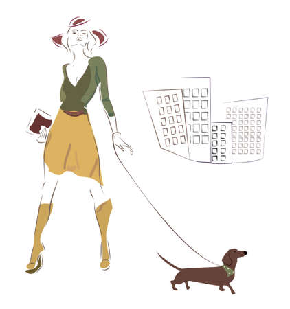 puppy dog: Woman and her Dachshund Dog on a Walk in the City Illustration