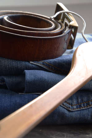 suede belt: Jeans and Clothing Accessories Close Up Stock Photo