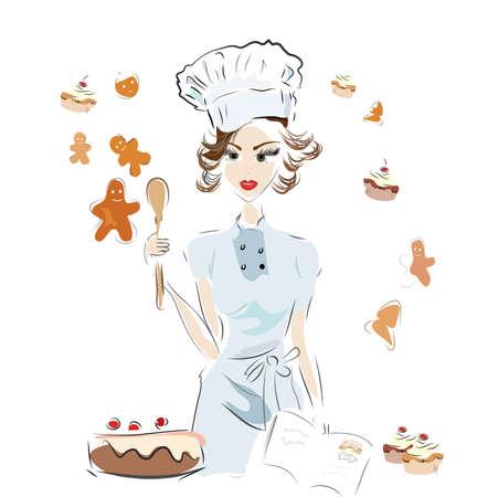 Panadero del cocinero con un libro de recetas y pastel de chocolate, galletas y magdalenas