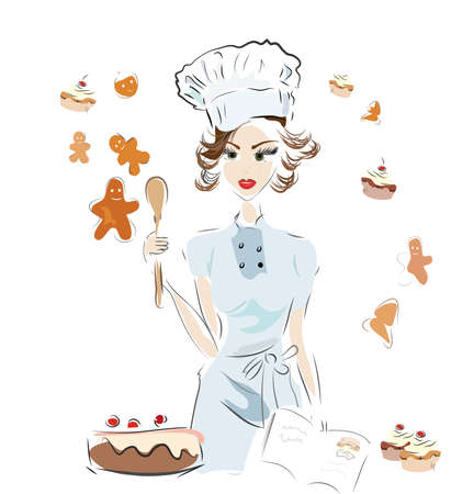Baker Chef with a Recipe Book and Chocolate Cake, Cookies and Cupcakes