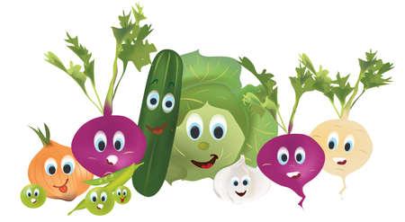 Illustrazione Raccolta di animati verdure cetriolo, cipolla, cavolo, rape, aglio, barbabietola, e caratteri Fagioli con le espressioni facciali. Set 3D di verdure vettoriale