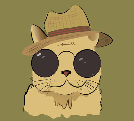 Illustration of a Cute Cat with Hat