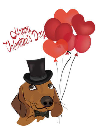 Valentines Greeting Card with  Cute Dachshund Dog with Cylinder and Balloons
