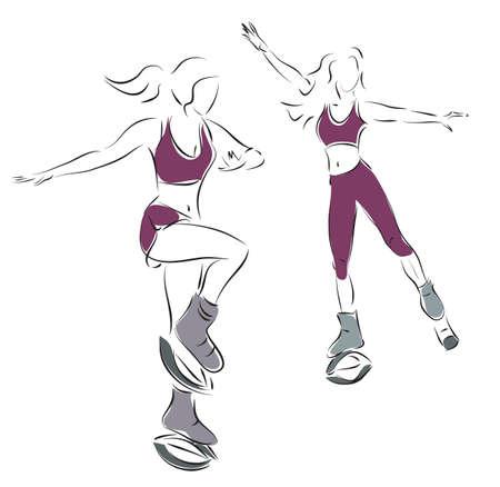 Kangoo Jump Fitness Activities. Women Exercising  with Kangoo Shoes